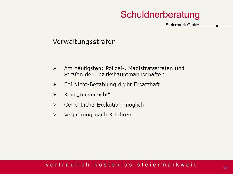 Verwaltungsstrafen Am häufigsten: Polizei-, Magistratsstrafen und Strafen der Bezirkshauptmannschaften.