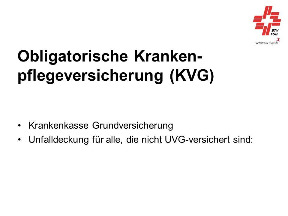 Obligatorische Kranken- pflegeversicherung (KVG)