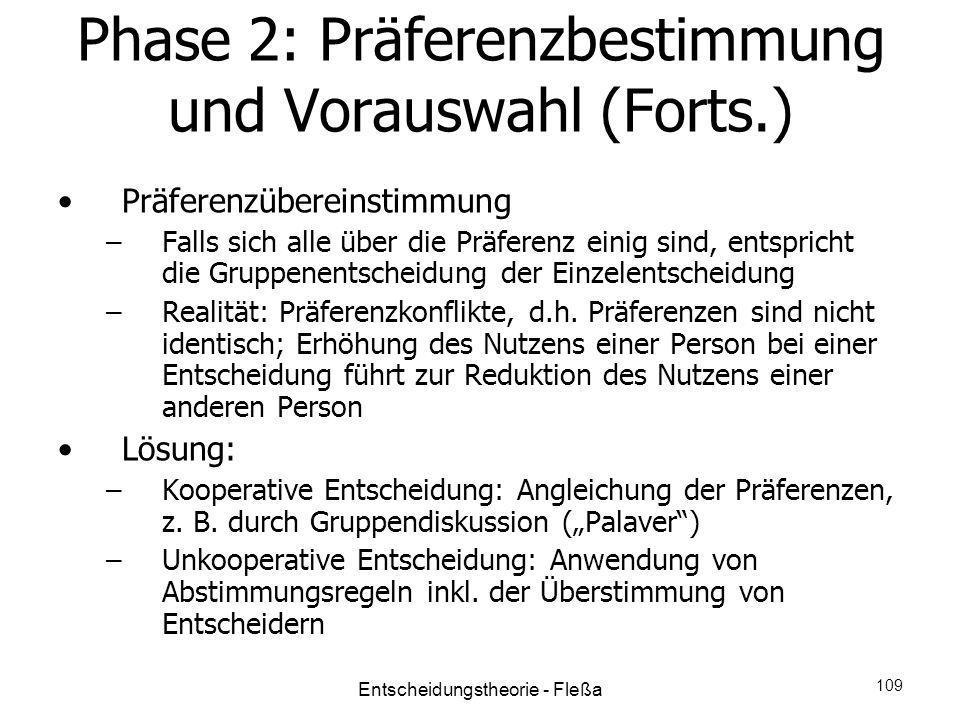 Phase 2: Präferenzbestimmung und Vorauswahl (Forts.)