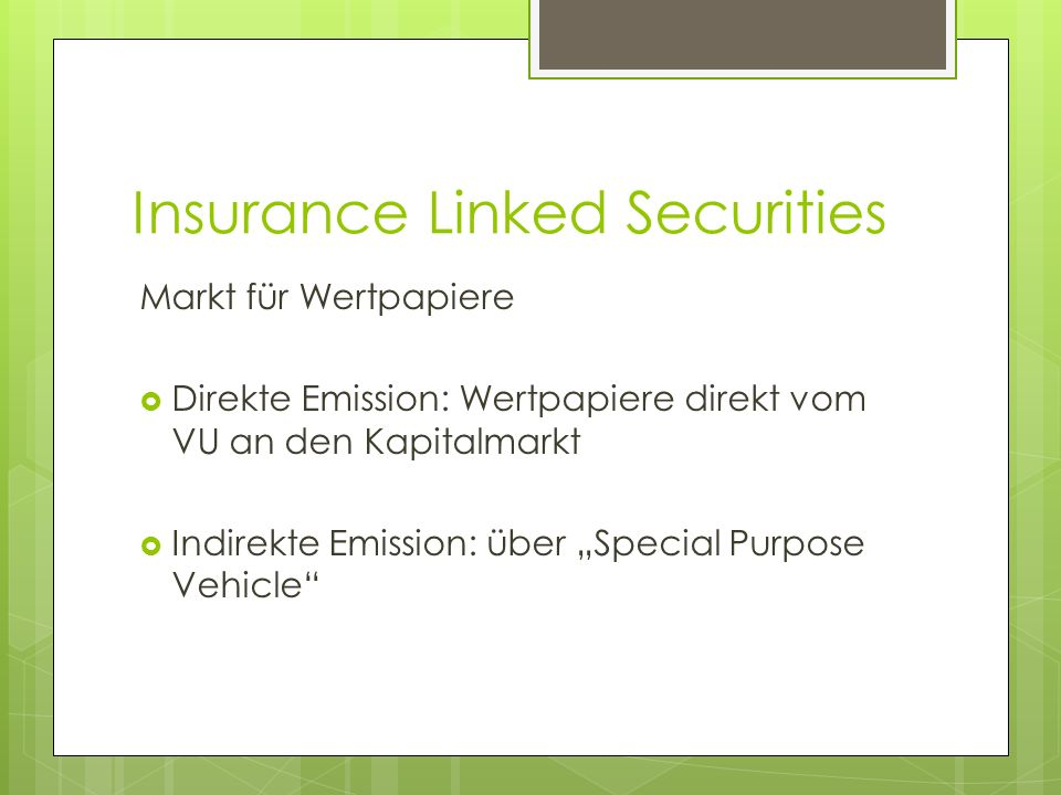 Insurance Linked Securities