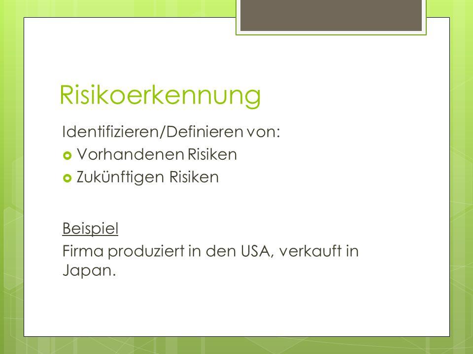 Risikoerkennung Identifizieren/Definieren von: Vorhandenen Risiken