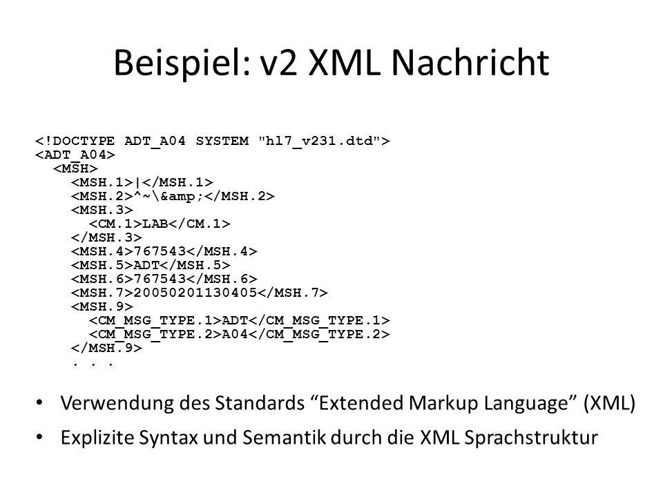Beispiel: v2 XML Nachricht