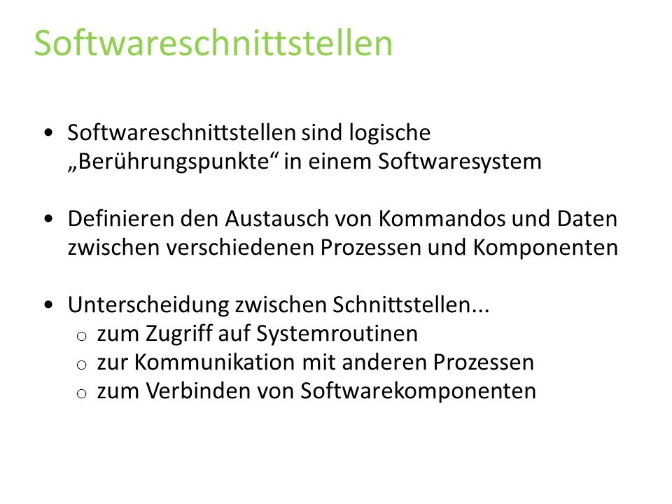 Softwareschnittstellen