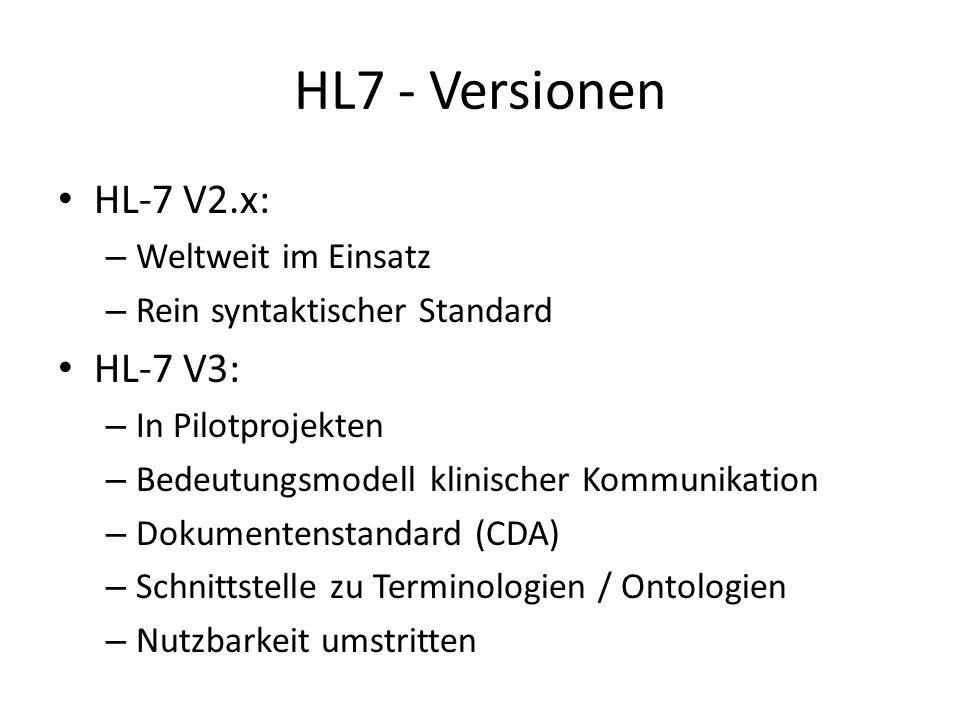 HL7 - Versionen HL-7 V2.x: HL-7 V3: Weltweit im Einsatz