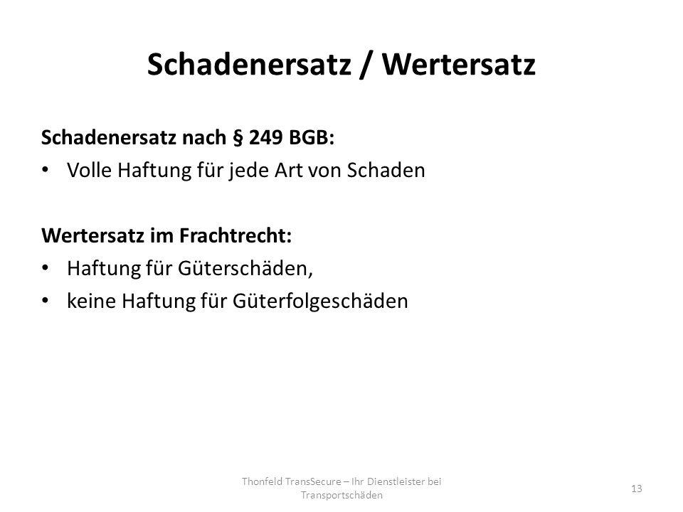 Schadenersatz / Wertersatz