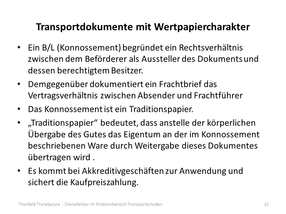 Transportdokumente mit Wertpapiercharakter