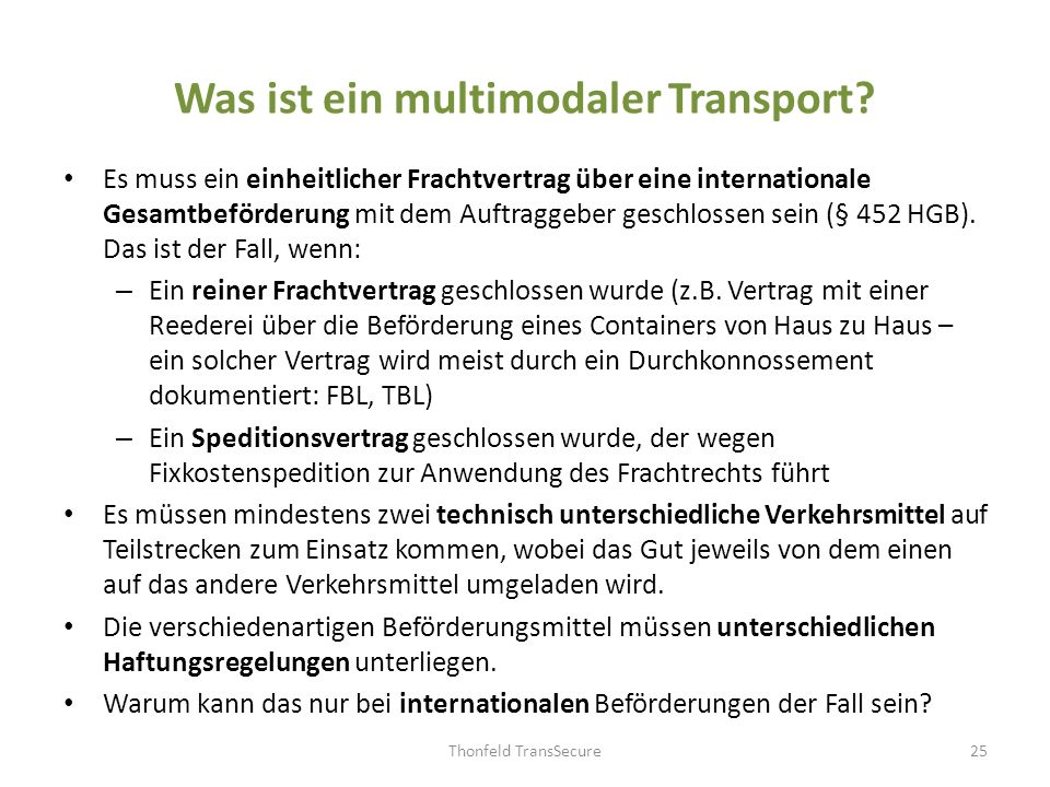 Was ist ein multimodaler Transport