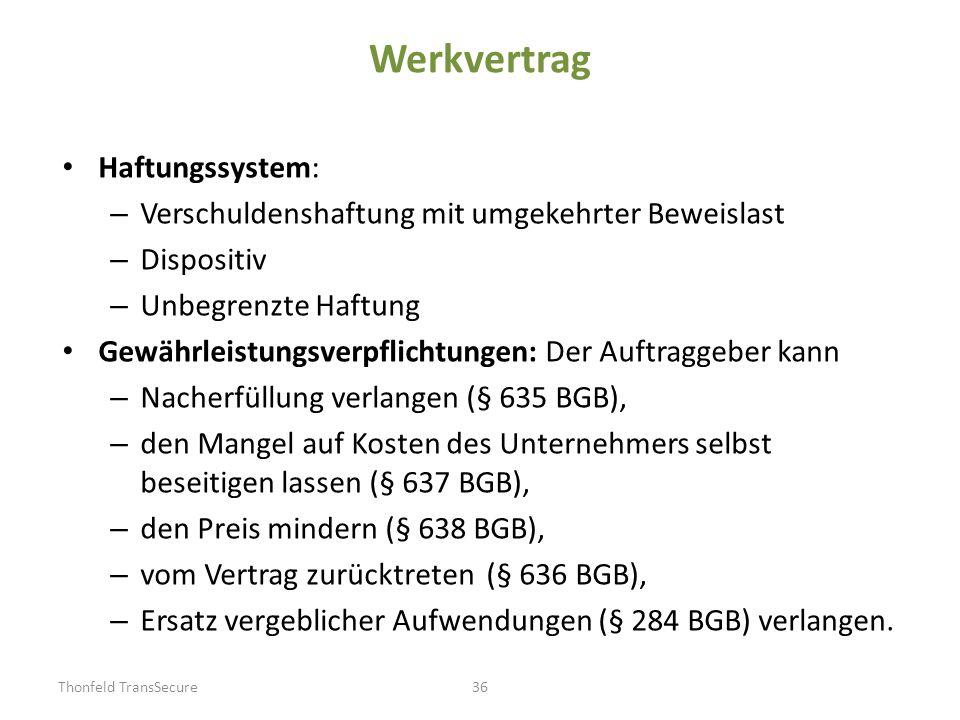 Werkvertrag Haftungssystem: