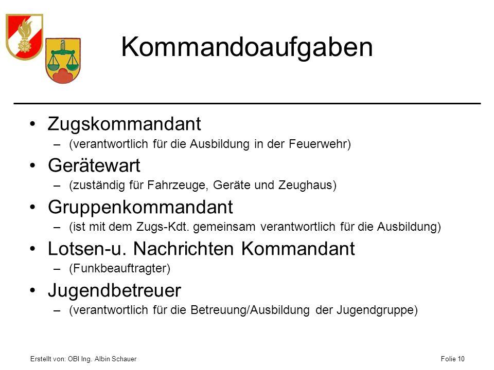 Kommandoaufgaben Zugskommandant Gerätewart Gruppenkommandant