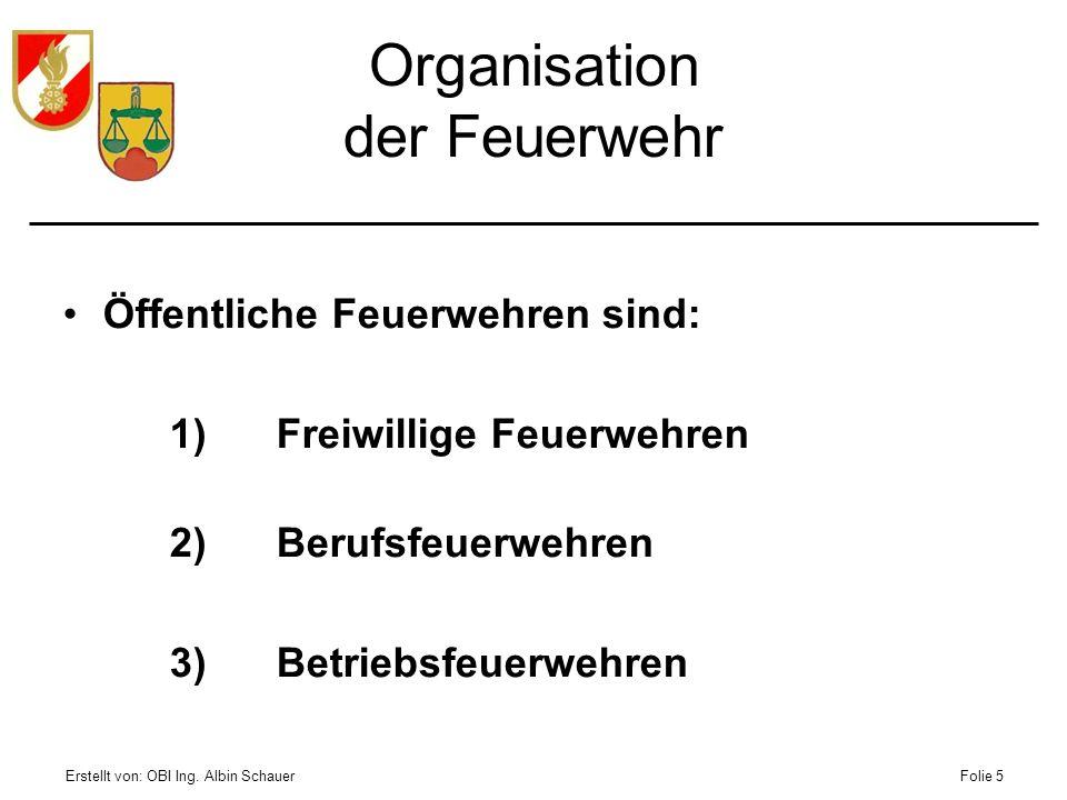 Organisation der Feuerwehr