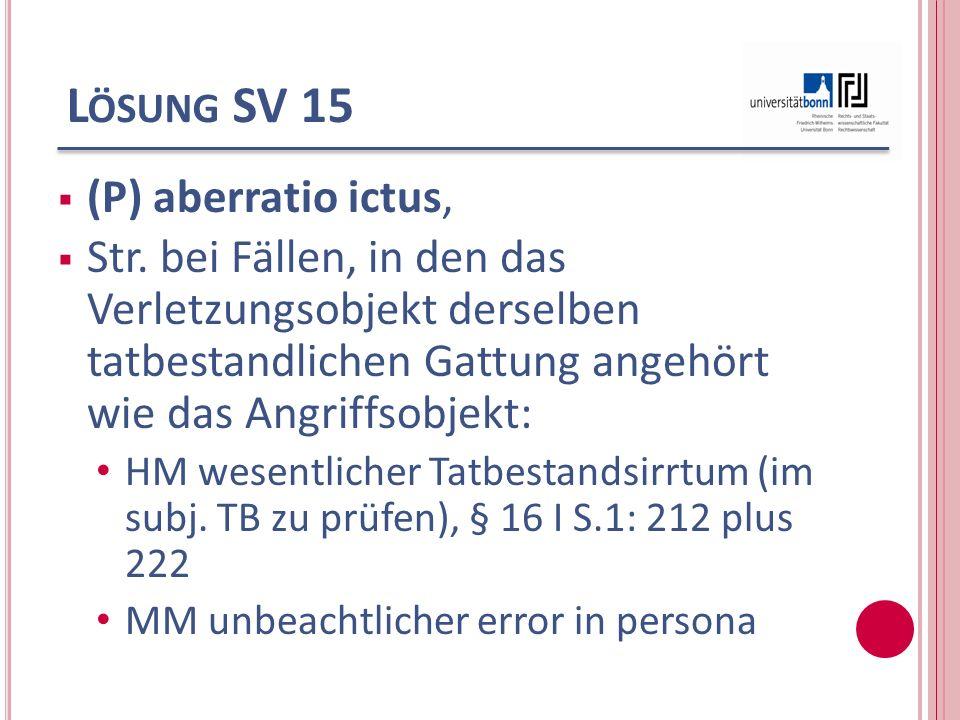 Lösung SV 15 (P) aberratio ictus,
