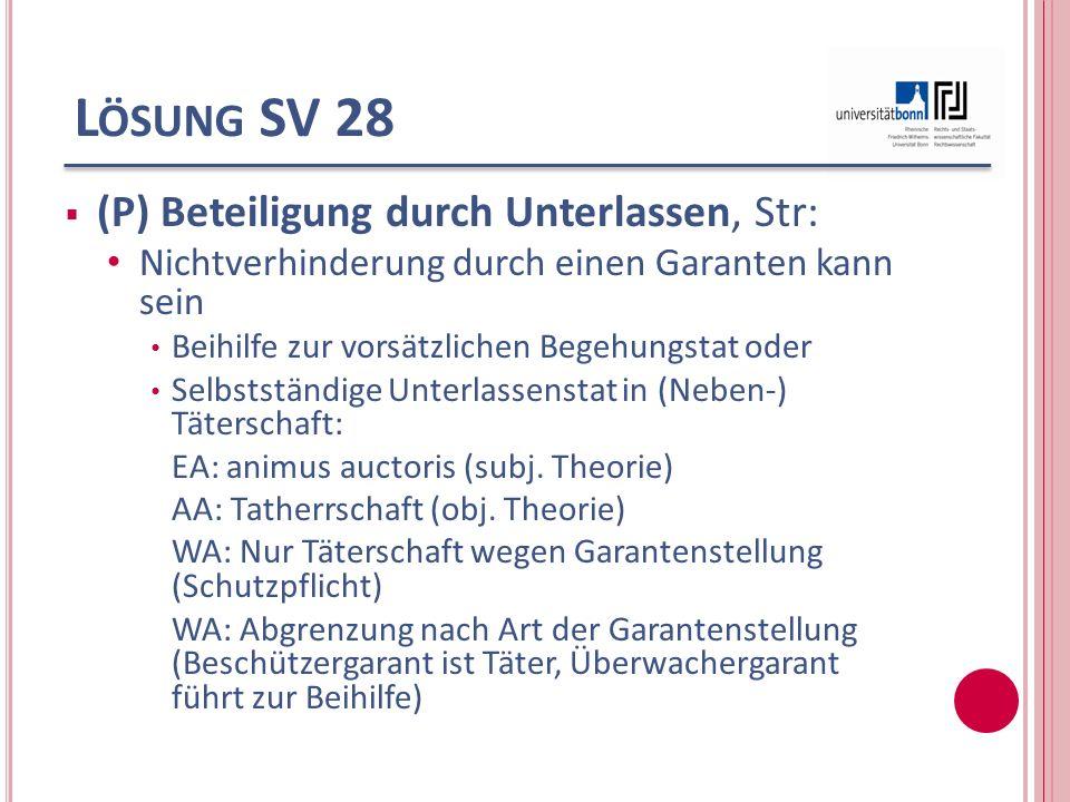 Lösung SV 28 (P) Beteiligung durch Unterlassen, Str: