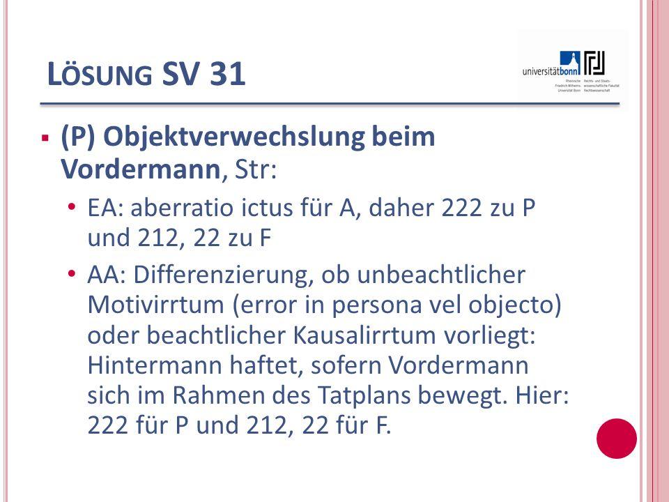 Lösung SV 31 (P) Objektverwechslung beim Vordermann, Str: