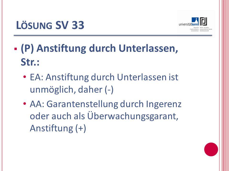 Lösung SV 33 (P) Anstiftung durch Unterlassen, Str.: