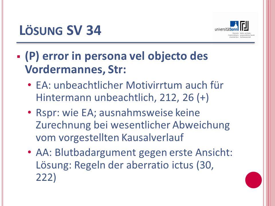 Lösung SV 34 (P) error in persona vel objecto des Vordermannes, Str: