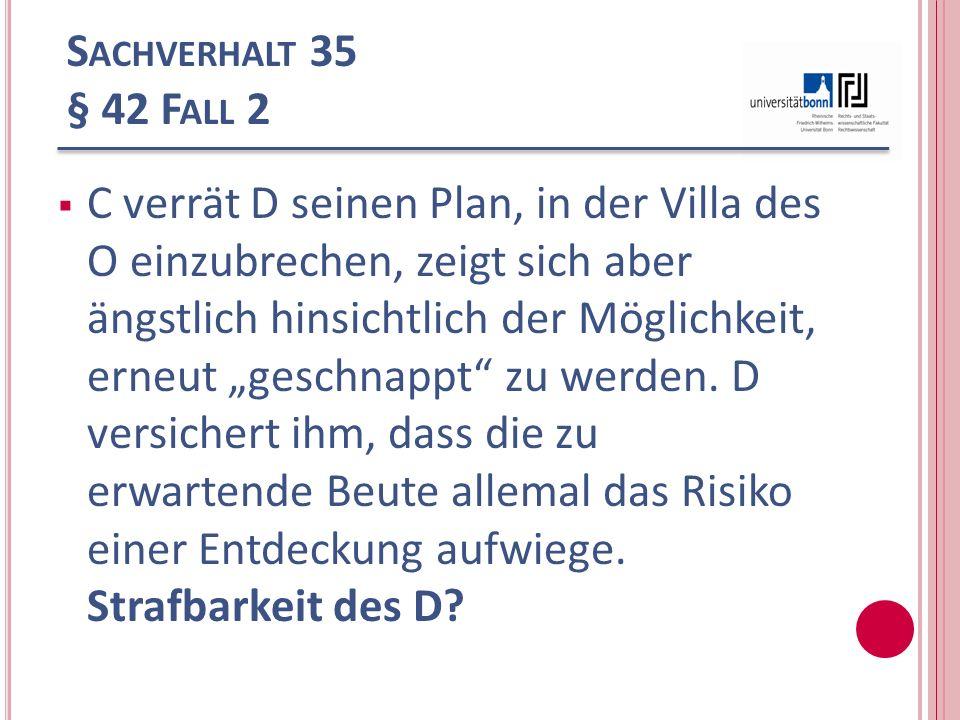 Sachverhalt 35 § 42 Fall 2