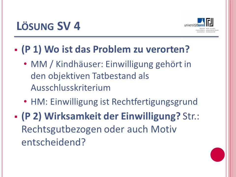 Lösung SV 4 (P 1) Wo ist das Problem zu verorten