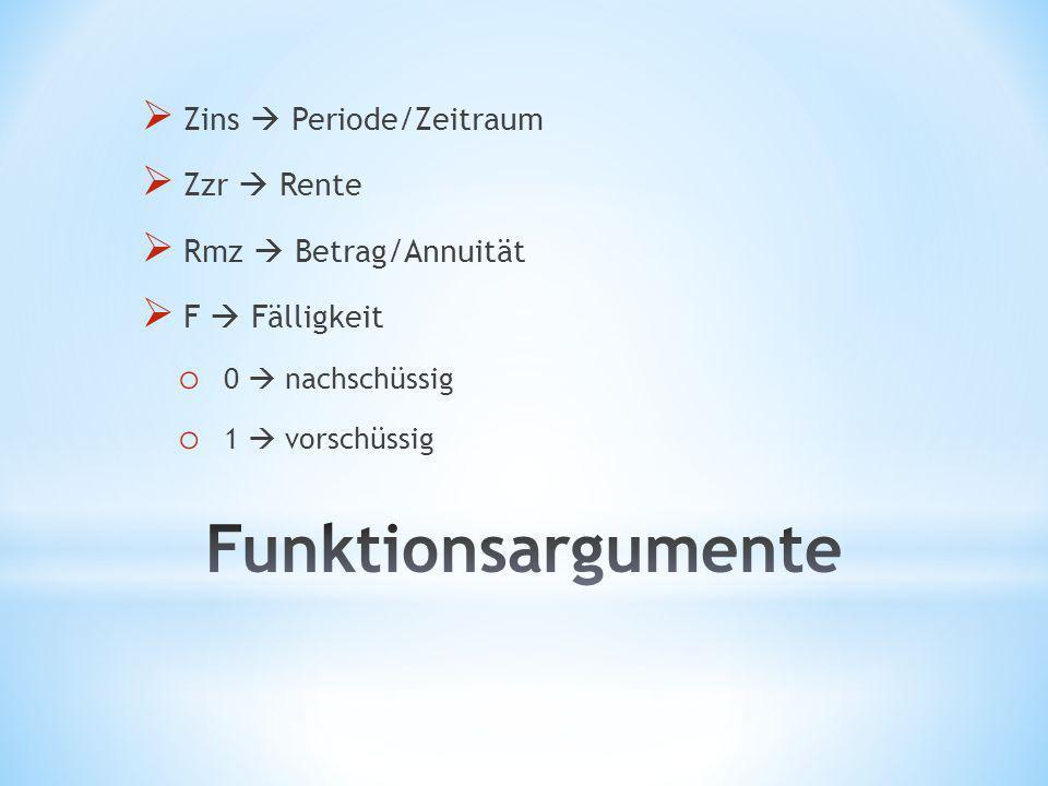 Funktionsargumente Zins  Periode/Zeitraum Zzr  Rente