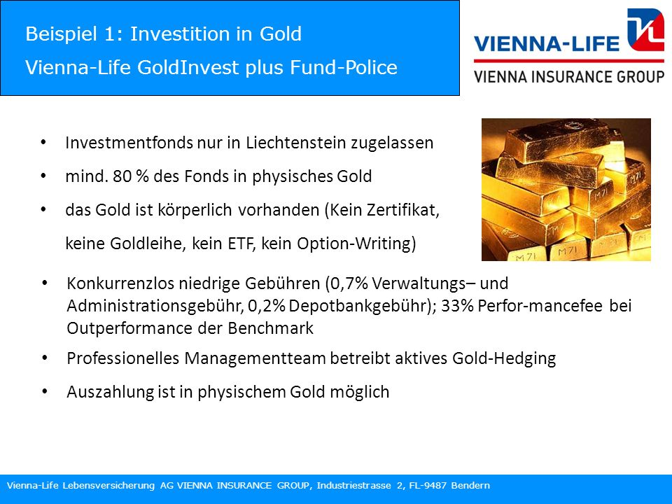 Beispiel 1: Investition in Gold