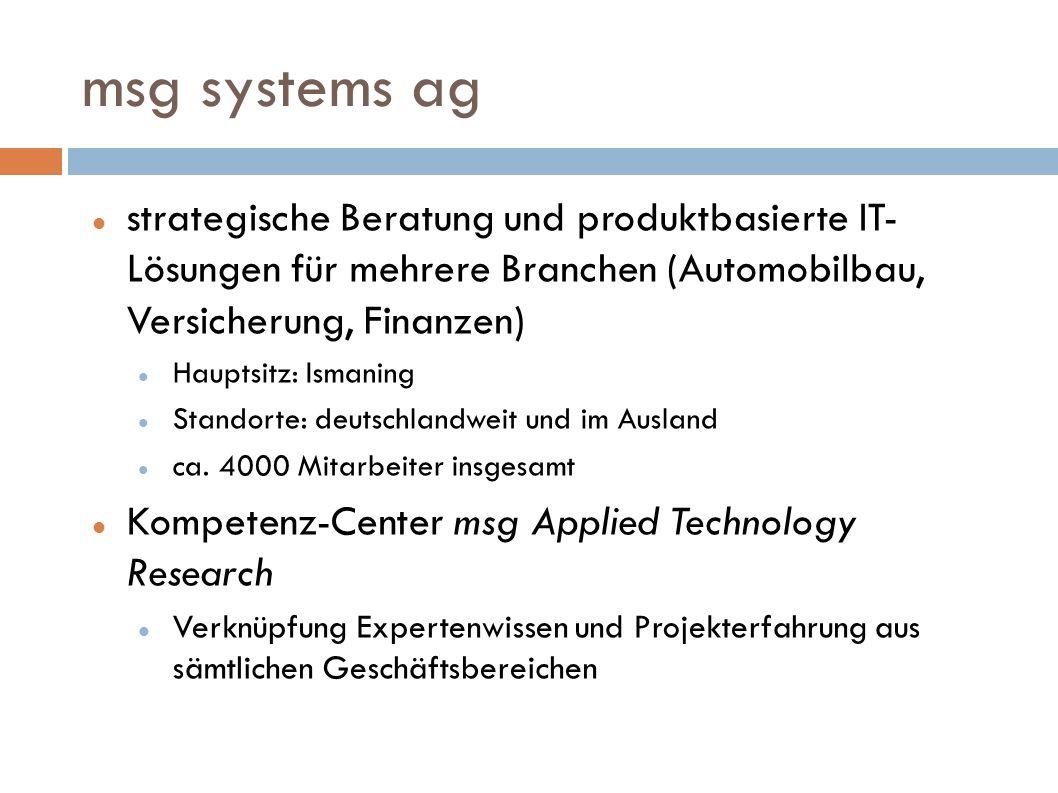 msg systems ag strategische Beratung und produktbasierte IT- Lösungen für mehrere Branchen (Automobilbau, Versicherung, Finanzen)