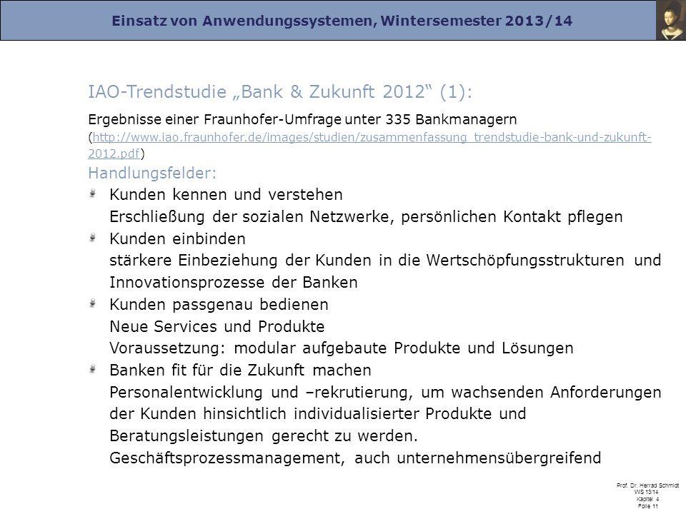 """IAO-Trendstudie """"Bank & Zukunft 2012 (1):"""