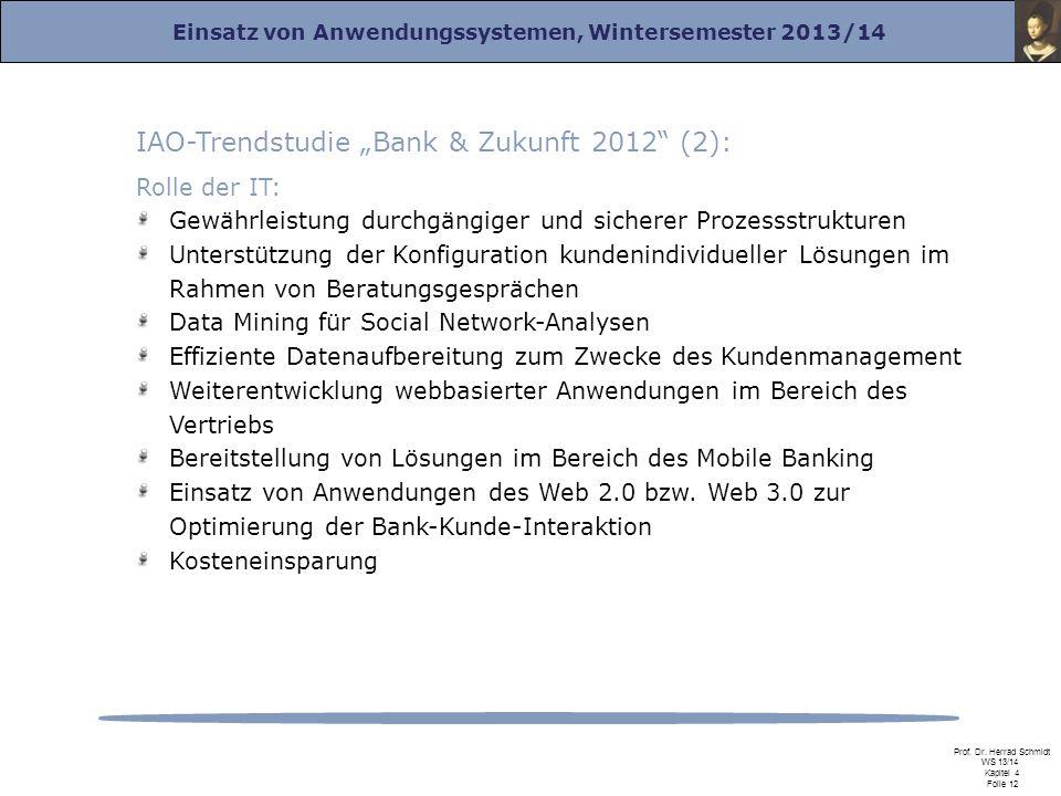 """IAO-Trendstudie """"Bank & Zukunft 2012 (2):"""
