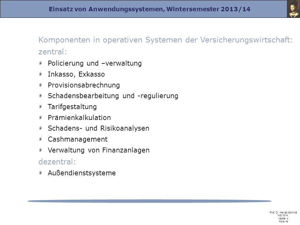 Komponenten in operativen Systemen der Versicherungswirtschaft: