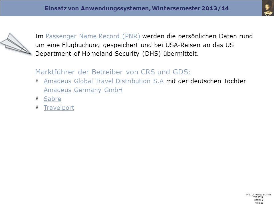 Marktführer der Betreiber von CRS und GDS: