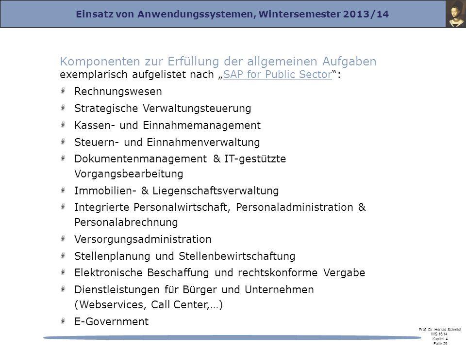 """Komponenten zur Erfüllung der allgemeinen Aufgaben exemplarisch aufgelistet nach """"SAP for Public Sector :"""