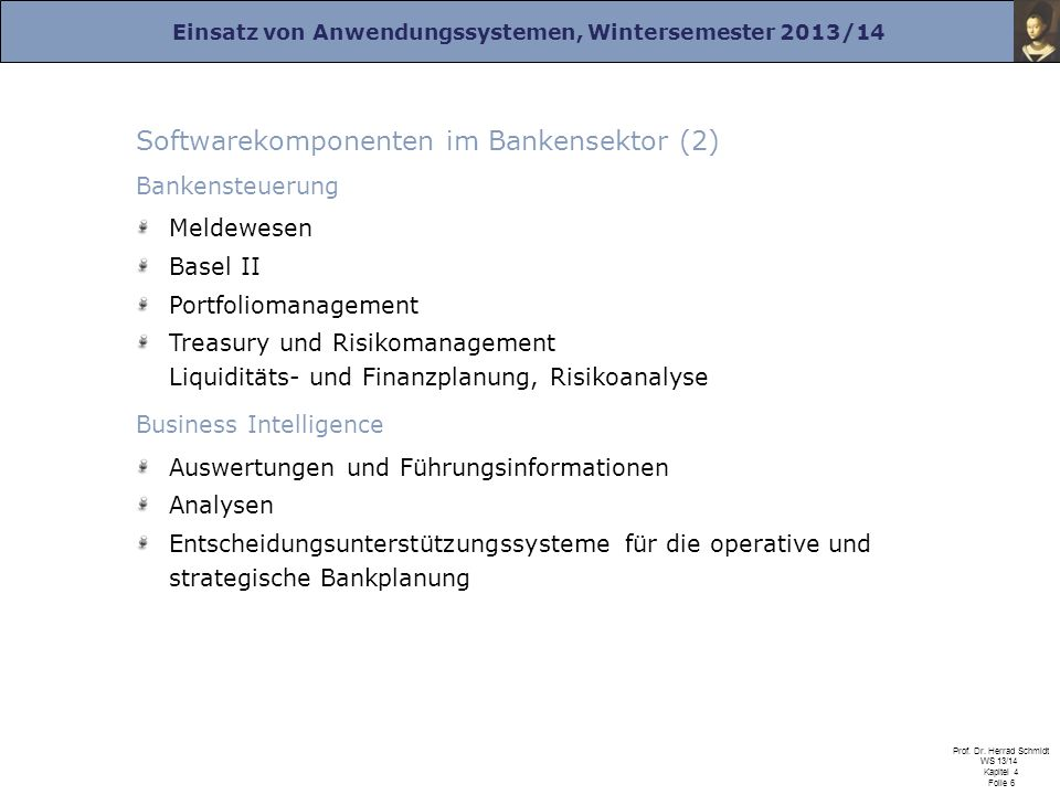 Softwarekomponenten im Bankensektor (2)