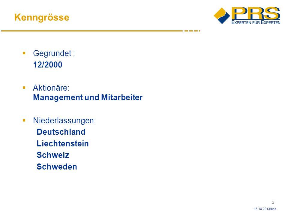 Kenngrösse Gegründet : 12/2000 Aktionäre: Management und Mitarbeiter