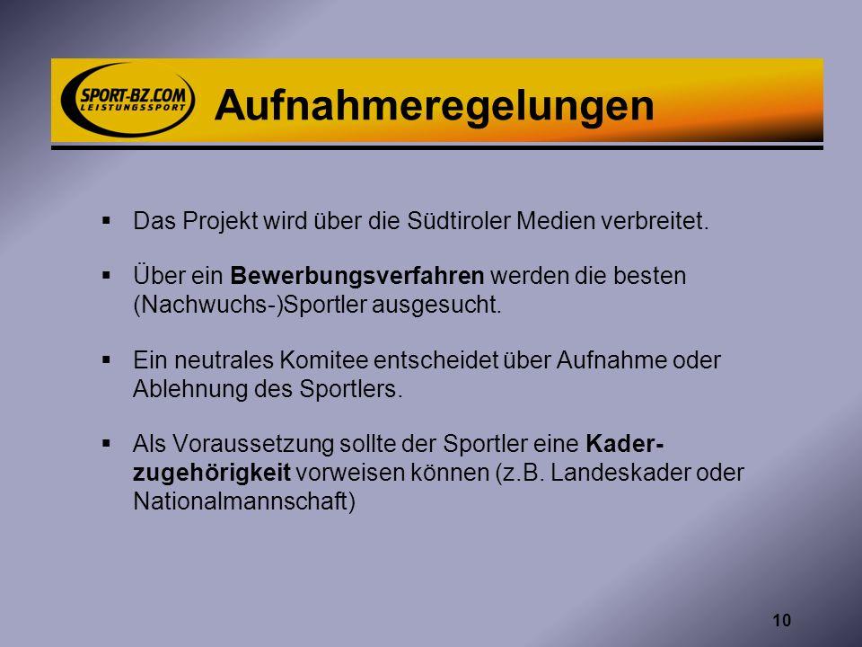17.05.2012 Aufnahmeregelungen. Das Projekt wird über die Südtiroler Medien verbreitet.