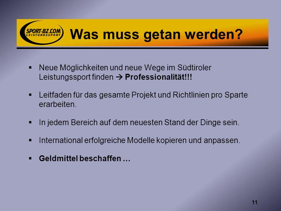 17.05.2012 Was muss getan werden Neue Möglichkeiten und neue Wege im Südtiroler Leistungssport finden  Professionalität!!!