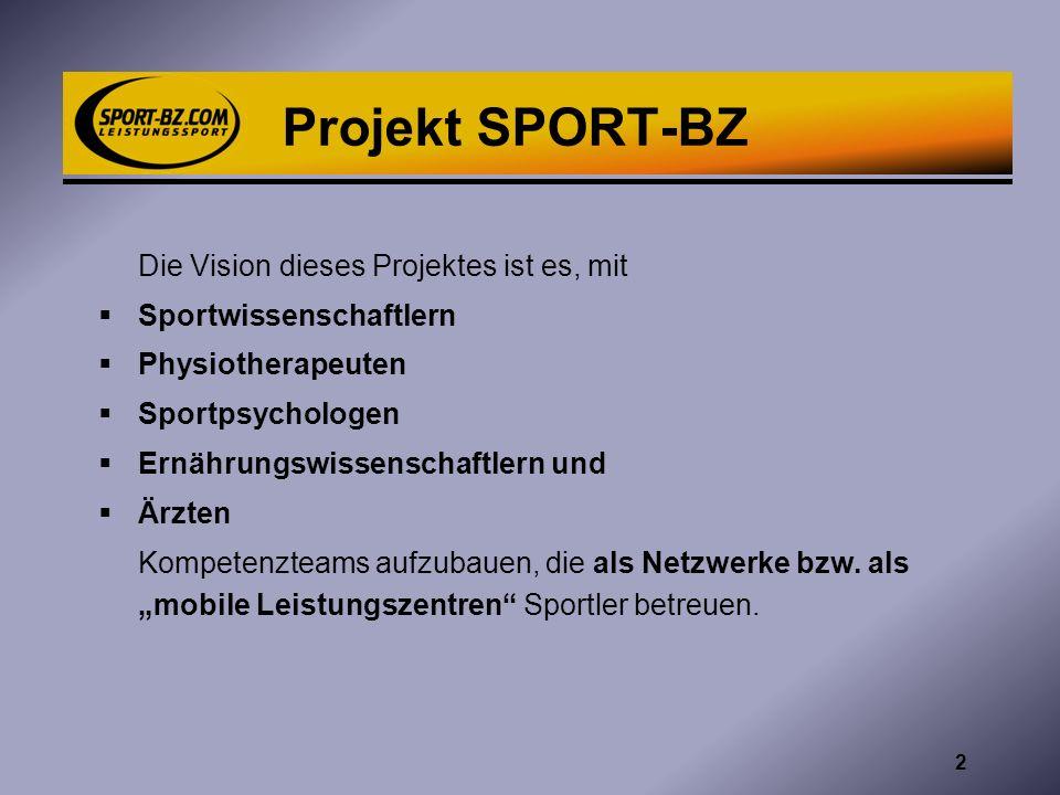 Projekt SPORT-BZ Die Vision dieses Projektes ist es, mit