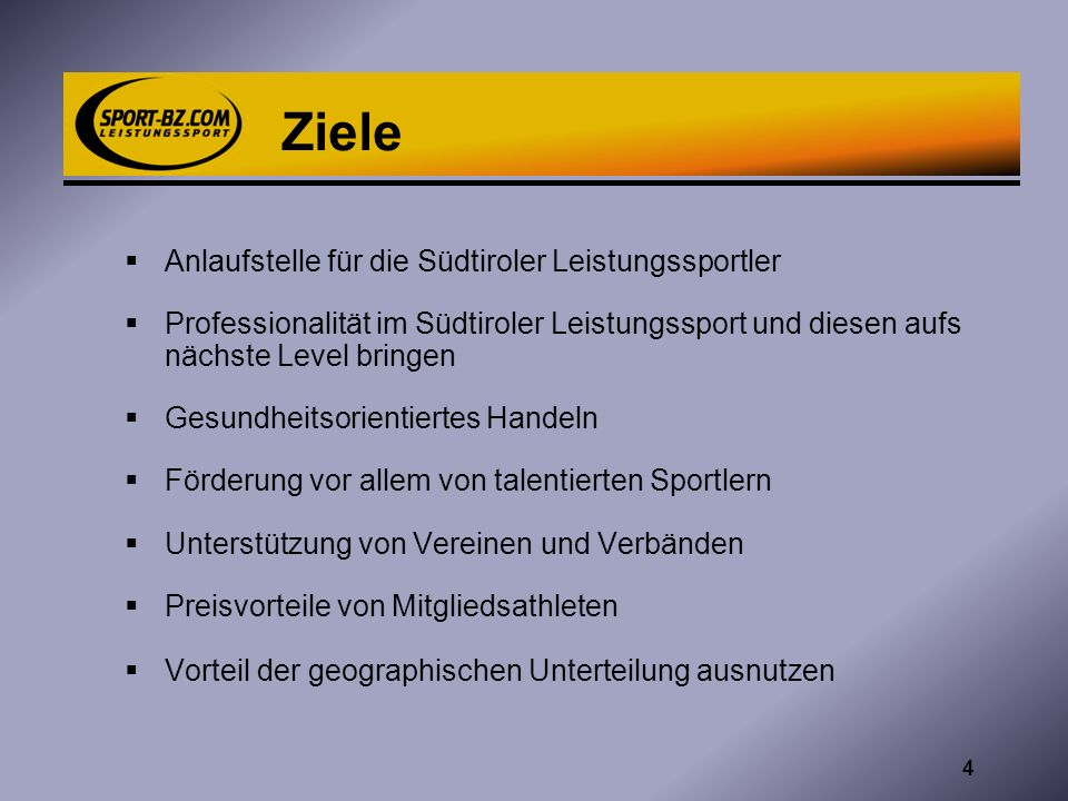 Ziele Anlaufstelle für die Südtiroler Leistungssportler