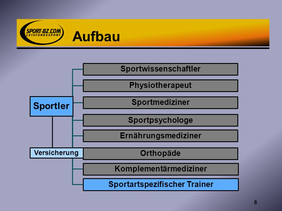 Aufbau Sportler Sportwissenschaftler Physiotherapeut Sportmediziner