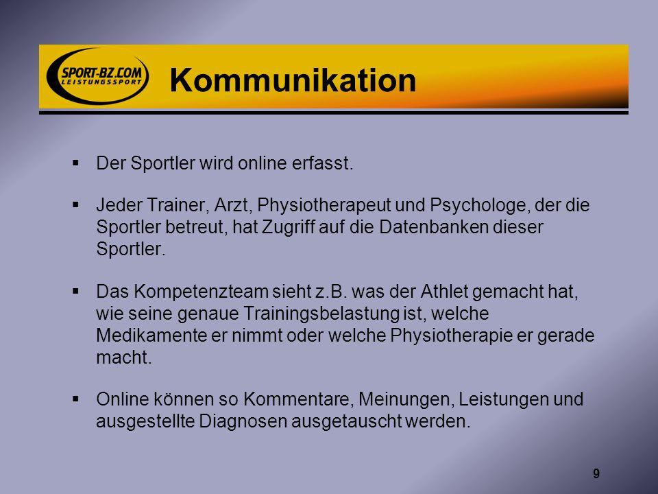 Kommunikation Der Sportler wird online erfasst.