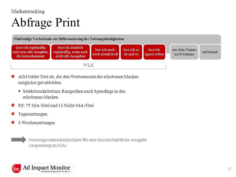 Abfrage Print Markentracking WLK