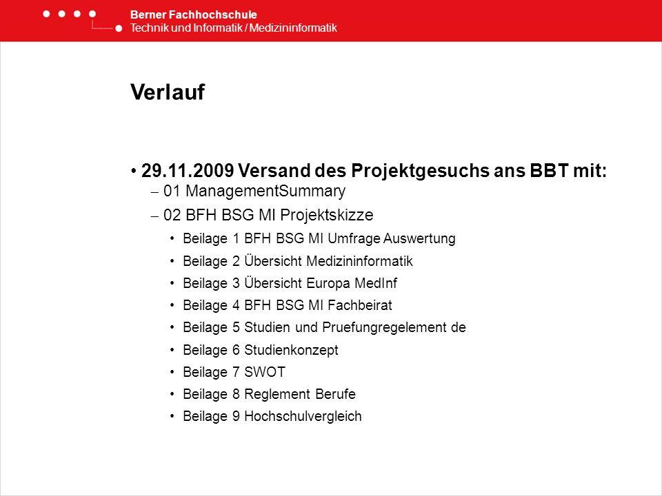 Verlauf 29.11.2009 Versand des Projektgesuchs ans BBT mit: