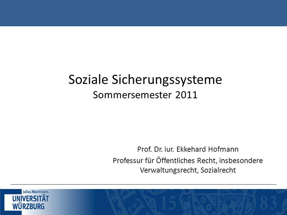 Soziale Sicherungssysteme Sommersemester 2011