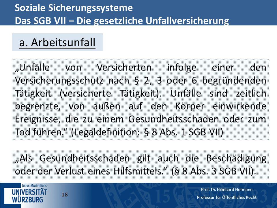 a. Arbeitsunfall Soziale Sicherungssysteme