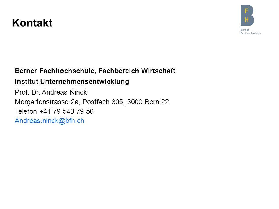 Kontakt Berner Fachhochschule, Fachbereich Wirtschaft