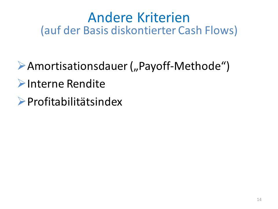 (auf der Basis diskontierter Cash Flows)