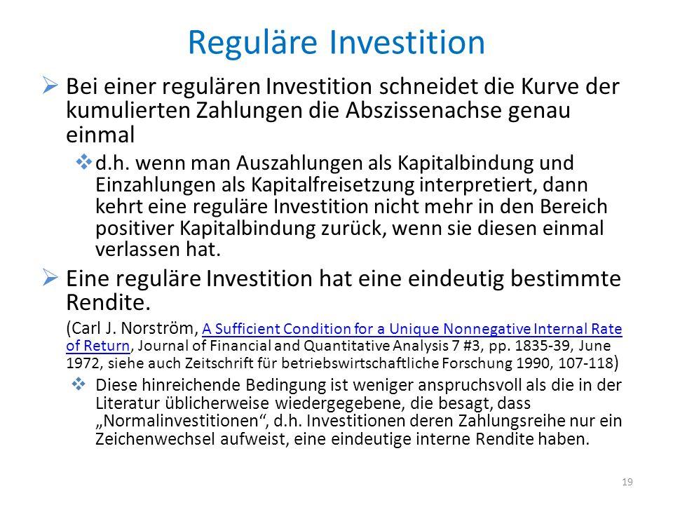 Reguläre Investition Bei einer regulären Investition schneidet die Kurve der kumulierten Zahlungen die Abszissenachse genau einmal.