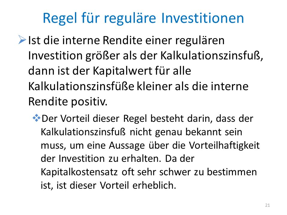 Regel für reguläre Investitionen