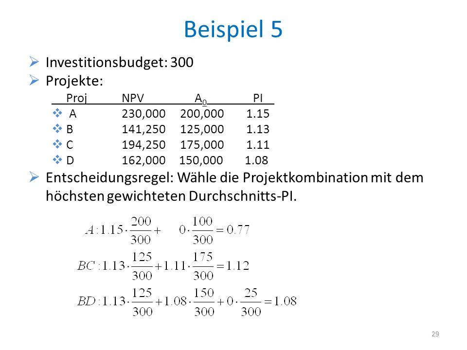 Beispiel 5 Investitionsbudget: 300 Projekte: