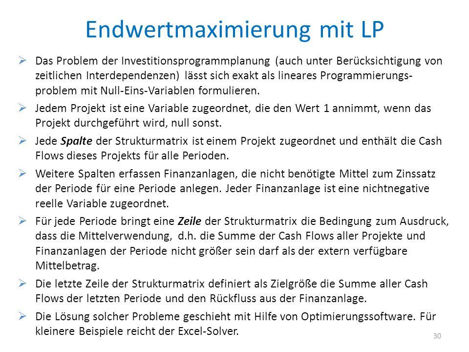 Endwertmaximierung mit LP