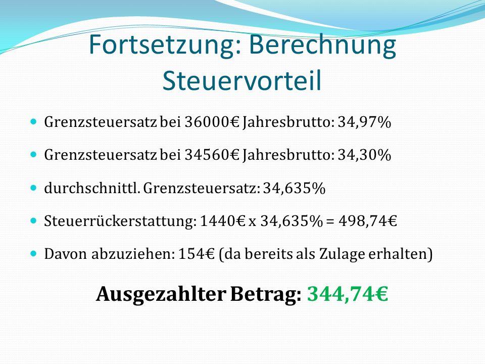 Fortsetzung: Berechnung Steuervorteil