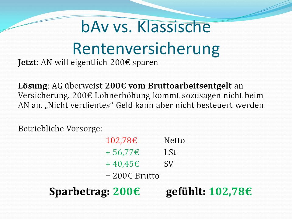 bAv vs. Klassische Rentenversicherung