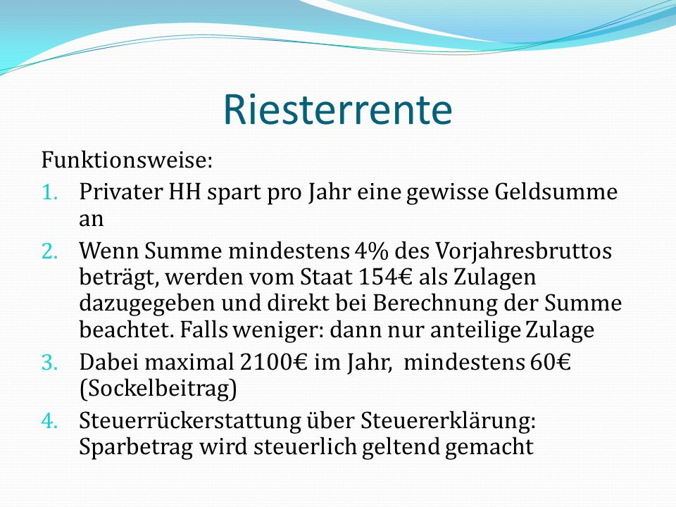 Riesterrente Funktionsweise: